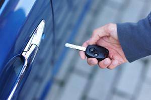 Car key in man's hand